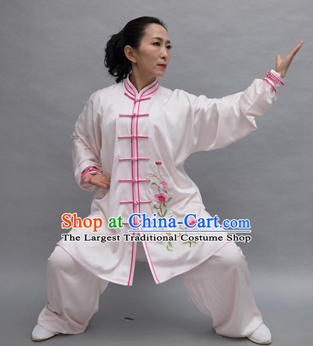 Top Tai Ji Training Embroidered Flowers White Uniform Kung Fu Group Competition Costume for Women