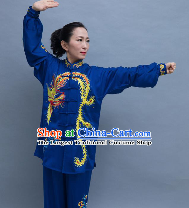 Top Tai Ji Training Embroidered Phoenix Deep Blue Uniform Kung Fu Group Competition Costume for Women