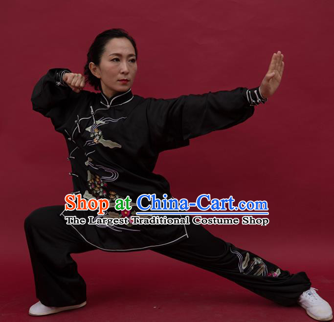 Top Tai Ji Training Embroidered Black Uniform Kung Fu Group Competition Costume for Women