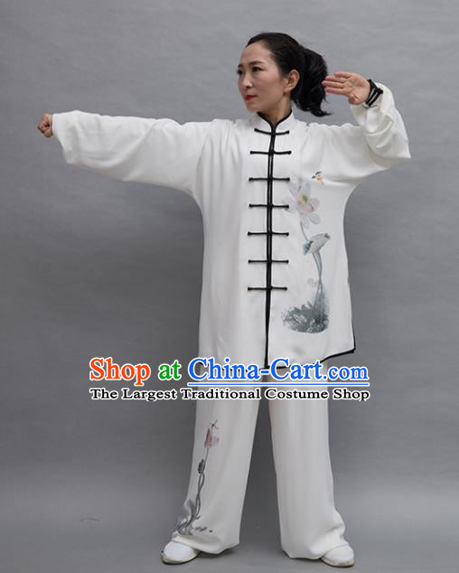 Top Tai Ji Training Ink Painting Lotus Uniform Kung Fu Group Competition Costume for Women