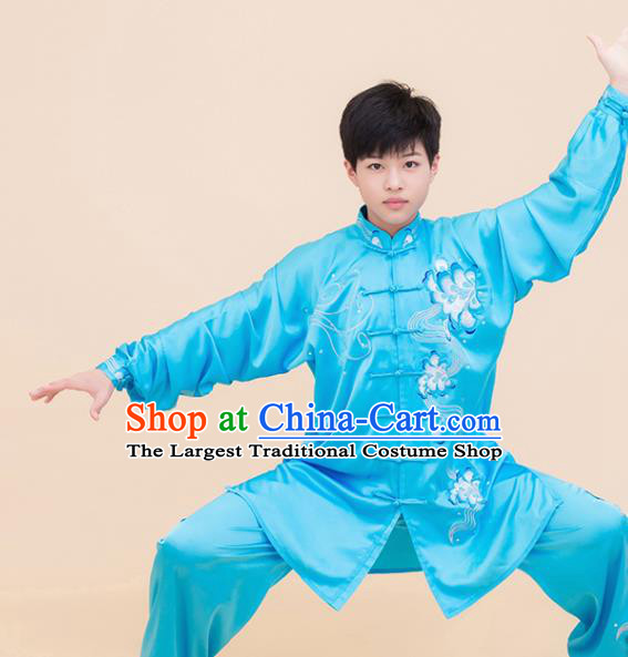 Top Grade Kung Fu Embroidered Blue Costume Martial Arts Training Tai Ji Uniform for Adults