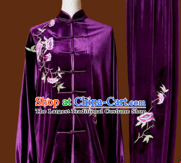 Top Tai Ji Training Embroidered Purple Velvet Uniform Kung Fu Group Competition Costume for Women