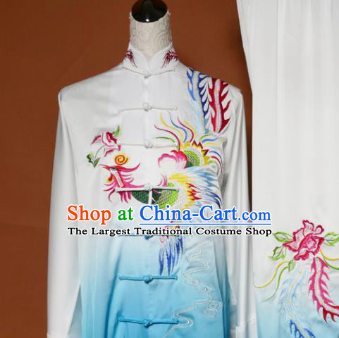Top Tai Ji Training Embroidered Phoenix Blue Uniform Kung Fu Group Competition Costume for Women