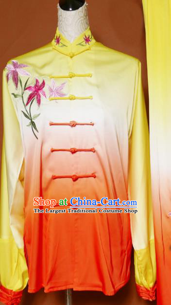 Top Tai Ji Training Embroidered Orchid Orange Uniform Kung Fu Group Competition Costume for Women