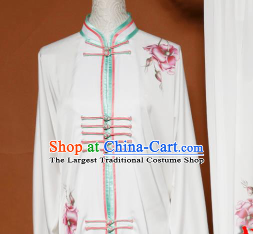 Top Tai Ji Training Printing Peony White Uniform Kung Fu Group Competition Costume for Women