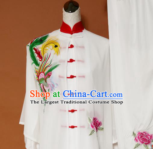 Top Tai Ji Training Embroidered Phoenix Peony White Uniform Kung Fu Group Competition Costume for Women
