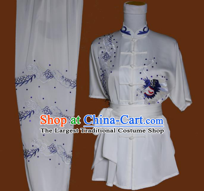 Top Grade Kung Fu Embroidered Dragon White Costume Chinese Tai Chi Martial Arts Training Uniform for Adults