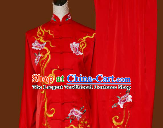 Top Tai Ji Training Embroidered Peony Red Uniform Kung Fu Group Competition Costume for Women