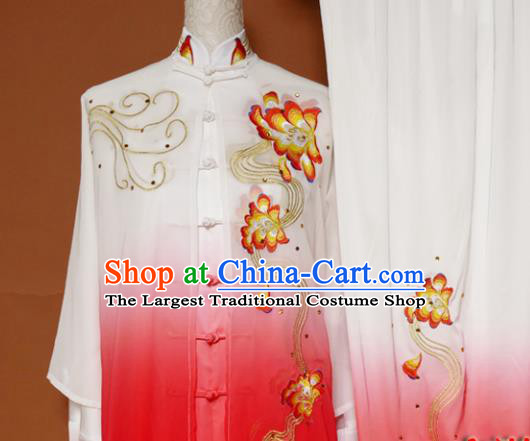 Top Tai Ji Training Embroidered Peony Rosy Uniform Kung Fu Group Competition Costume for Women