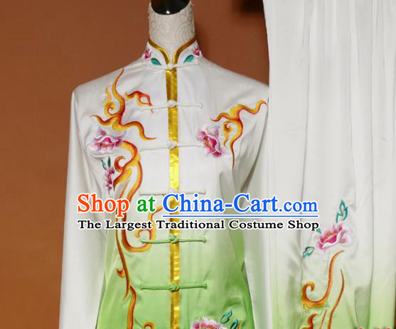 Top Tai Ji Training Embroidered Peony Green Uniform Kung Fu Group Competition Costume for Women