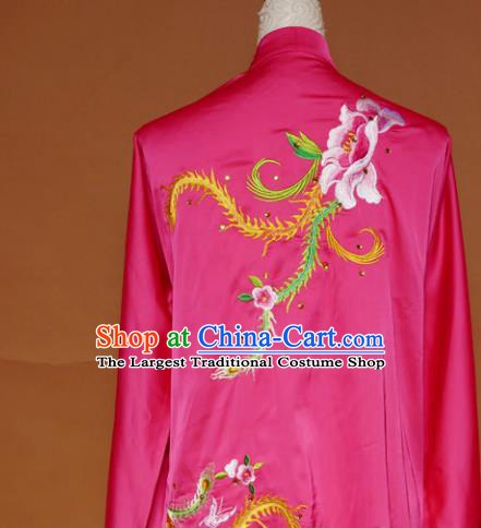 Top Tai Ji Training Embroidered Phoenix Peony Rosy Uniform Kung Fu Group Competition Costume for Women