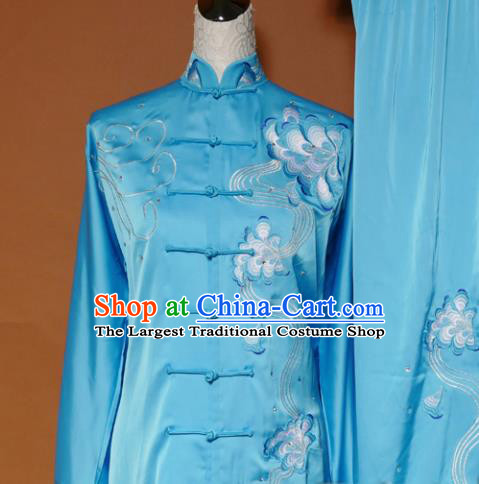 Top Tai Ji Training Embroidered Peony Blue Uniform Kung Fu Group Competition Costume for Women