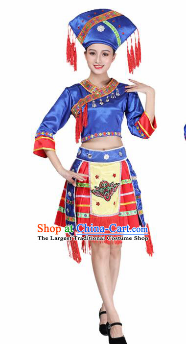 Chinese Traditional Ethnic Costume Miao Nationality Royalblue Dress for Women