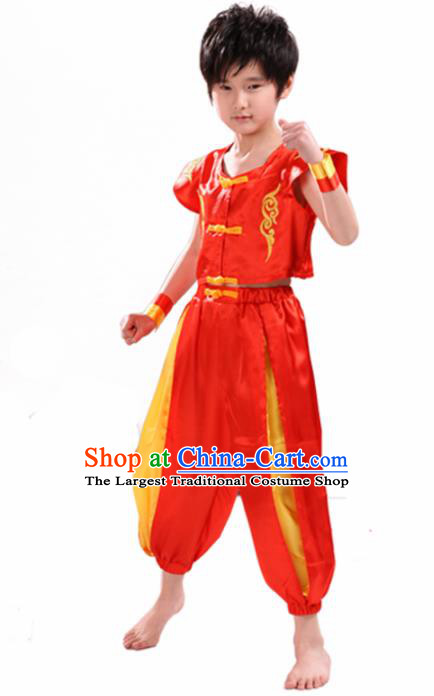 Chinese Traditional Dance Costume Folk Dance Drum Dance Red Clothing for Kids