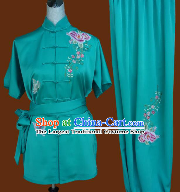 Chinese Traditional Tai Chi Embroidered Roses Uniform Kung Fu Group Competition Costume for Women