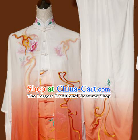 Top Tai Ji Training Embroidered Peony Orange Silk Uniform Kung Fu Group Competition Costume for Women