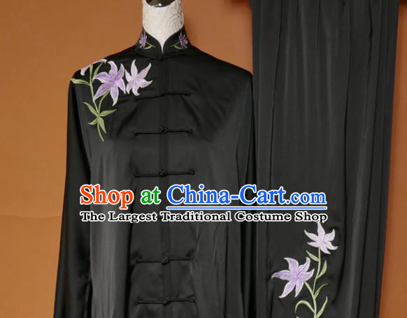 Top Tai Ji Training Embroidered Orchid Black Uniform Kung Fu Group Competition Costume for Women