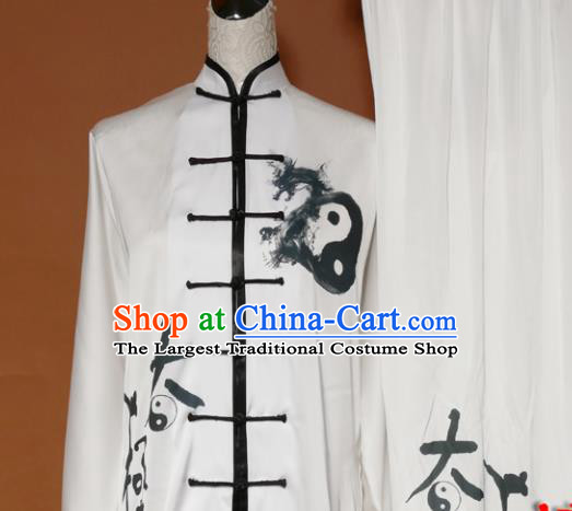 Top Tai Ji Training Ink Painting Uniform Kung Fu Group Competition Costume for Women