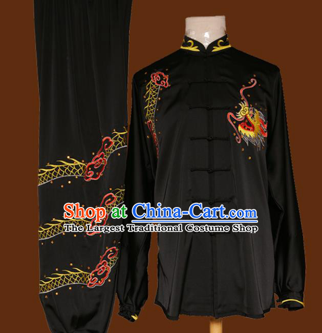 Top Grade Kung Fu Embroidered Dragon Black Costume Chinese Tai Chi Martial Arts Training Uniform for Adults