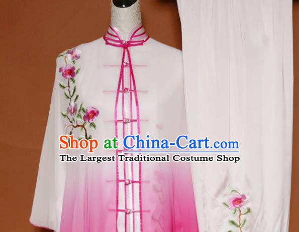 Top Tai Ji Training Embroidered Rosy Silk Uniform Kung Fu Group Competition Costume for Women