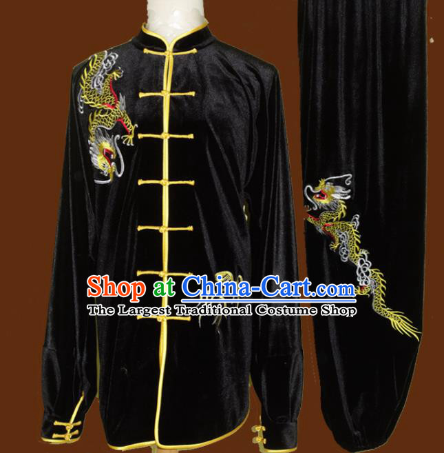 Top Grade Kung Fu Embroidered Dragon Black Velvet Costume Chinese Tai Chi Martial Arts Training Uniform for Adults