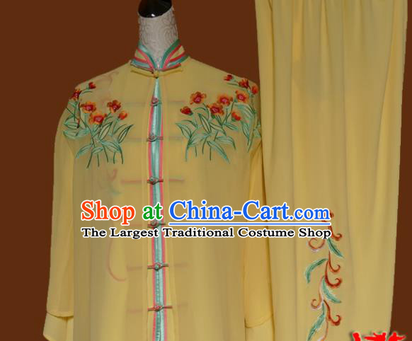Top Tai Ji Training Embroidered Yellow Silk Uniform Kung Fu Group Competition Costume for Women