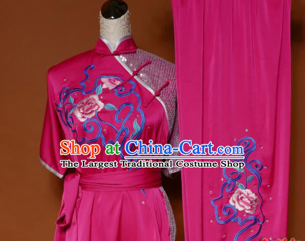 Top Martial Arts Training Embroidered Rosy Uniform Kung Fu Group Competition Costume for Women