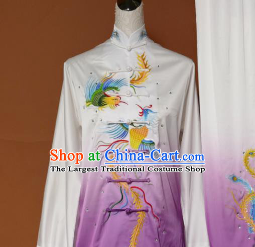 Chinese Traditional Tai Chi Training Embroidered Phoenix Purple Silk Uniform Kung Fu Group Competition Costume for Women
