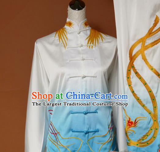 Chinese Traditional Tai Chi Training Embroidered Phoenix Blue Silk Uniform Kung Fu Group Competition Costume for Women