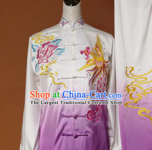 Chinese Traditional Tai Chi Training Embroidered Phoenix Peony Purple Uniform Kung Fu Group Competition Costume for Women