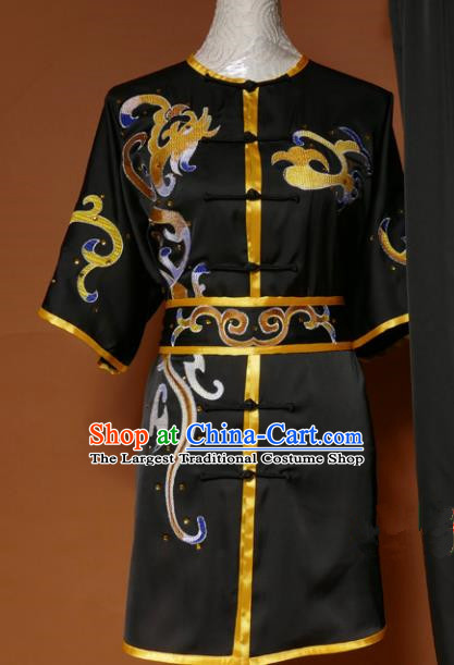Top Kung Fu Group Competition Costume Martial Arts Wushu Embroidered Black Uniform for Men
