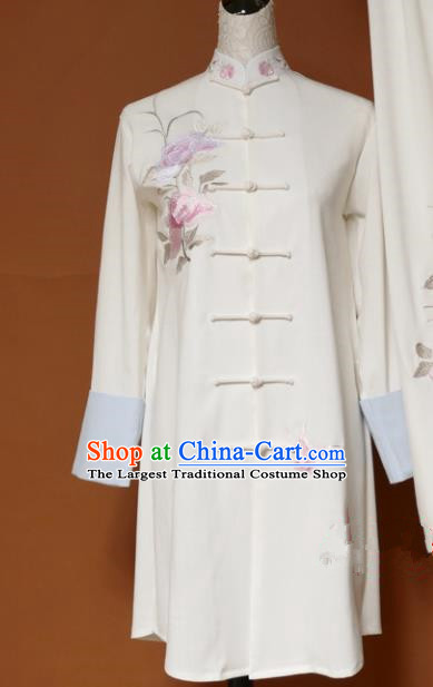 Chinese Traditional Tai Chi Training Embroidered Butterfly Peony White Uniform Kung Fu Group Competition Costume for Women