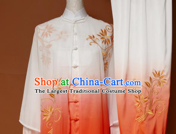 Chinese Traditional Tai Chi Training Embroidered Orange Uniform Kung Fu Group Competition Costume for Women