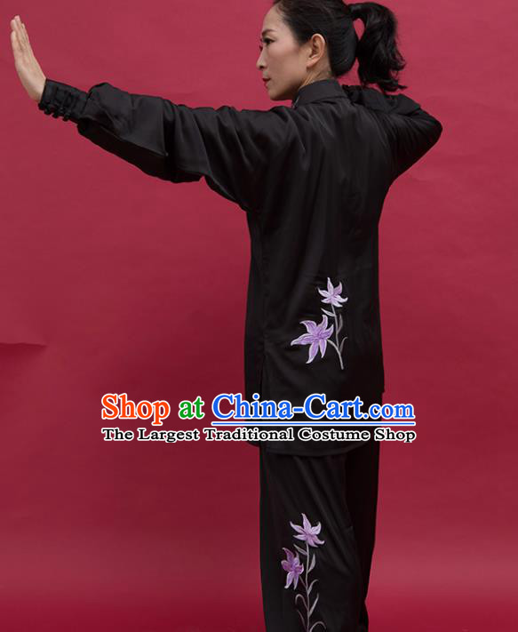 Top Group Kung Fu Costume Tai Ji Training Embroidered Orchid Black Uniform Clothing for Women