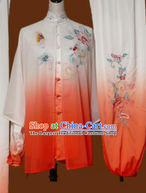Chinese Traditional Tai Chi Training Embroidered Peony Orange Uniform Kung Fu Group Competition Costume for Women