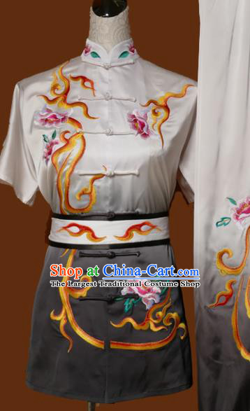 Chinese Traditional Tai Chi Training Embroidered Peony Grey Uniform Kung Fu Group Competition Costume for Women