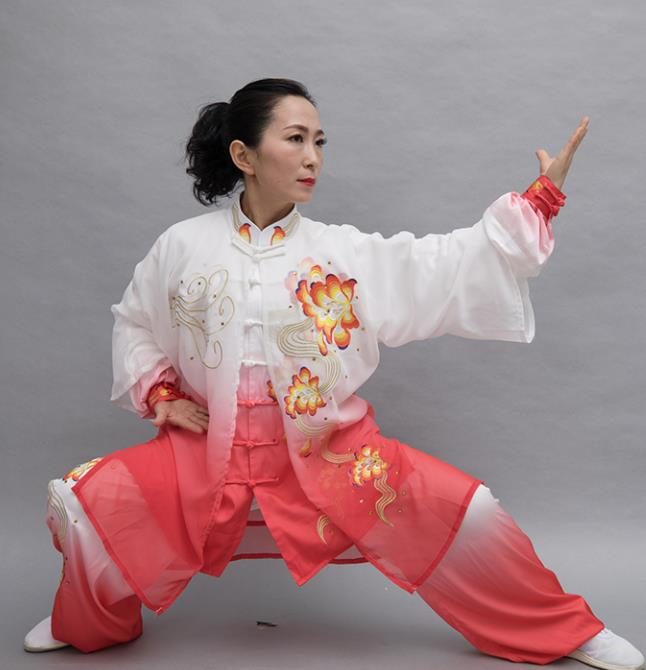 Top Group Kung Fu Costume Tai Ji Training Embroidered Peony Rosy Uniform Clothing for Women
