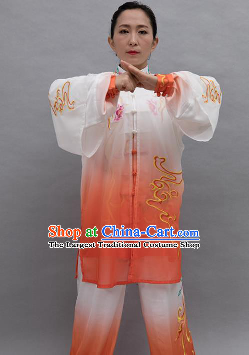 Top Group Kung Fu Costume Tai Ji Training Embroidered Orange Uniform Clothing for Women