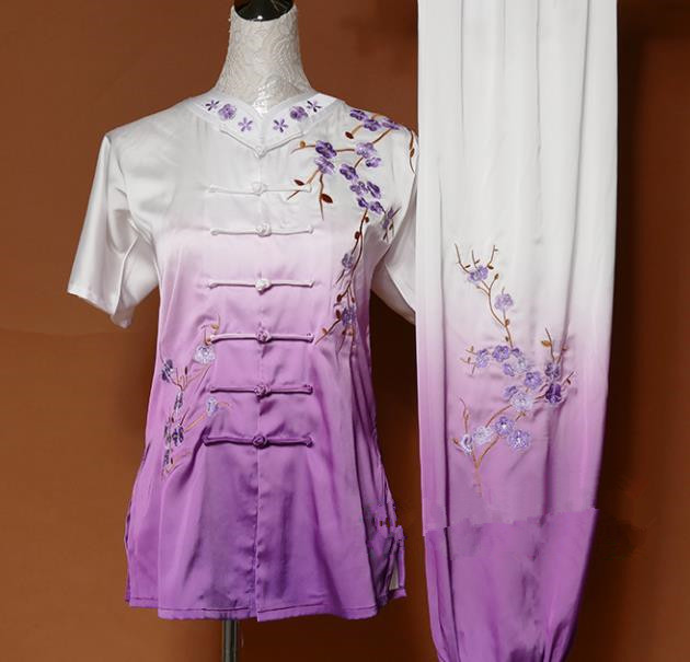 Chinese Traditional Tai Chi Embroidered Plum Blossom Purple Silk Uniform Kung Fu Group Competition Costume for Women