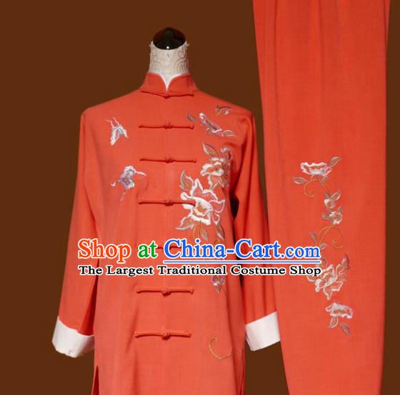 Top Grade Kung Fu Embroidered Peony Orange Costume Chinese Martial Arts Training Tai Ji Uniform for Adults