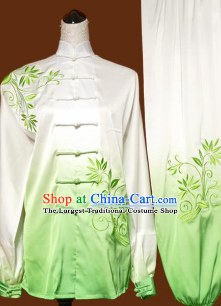 Chinese Traditional Tai Chi Embroidered Orchid Green Uniform Kung Fu Group Competition Costume for Women