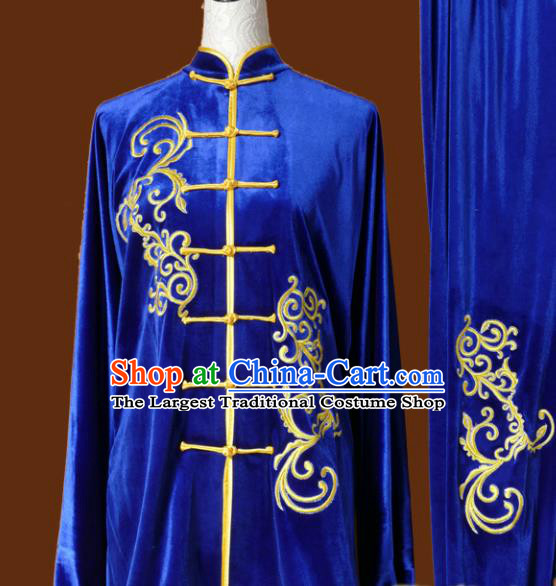 Top Kung Fu Group Competition Costume Martial Arts Wushu Blue Velvet Uniform for Men