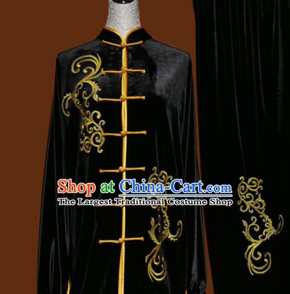 Top Kung Fu Group Competition Costume Martial Arts Wushu Black Velvet Uniform for Men