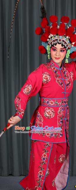 Professional Chinese Traditional Beijing Opera Blues Magic Warriors Rosy Costume for Adults