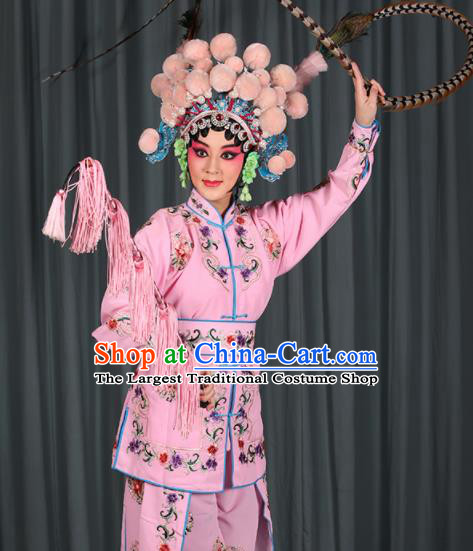 Professional Chinese Traditional Beijing Opera Blues Magic Warriors Pink Costume for Adults