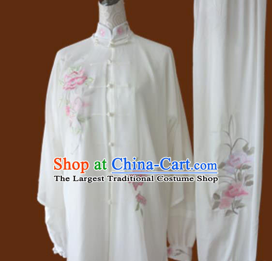 Chinese Traditional Tai Chi Embroidered White Uniform Kung Fu Group Competition Costume for Women