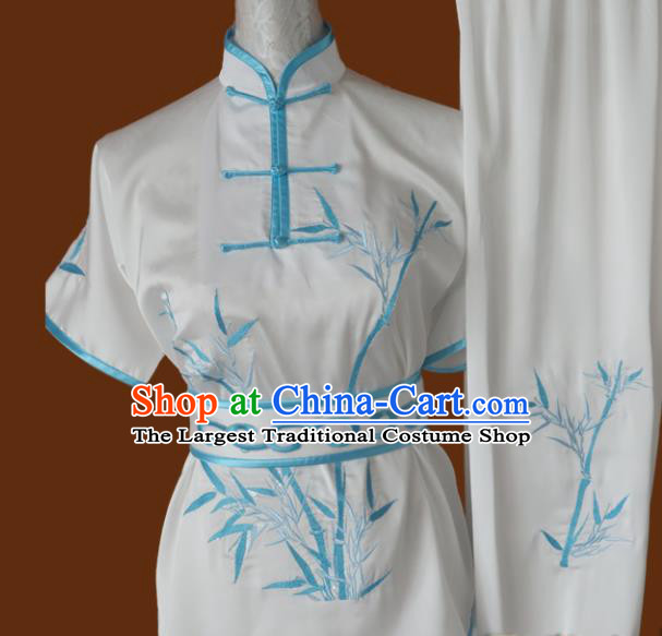 Chinese Traditional Martial Arts Embroidered Bamboo White Uniform Kung Fu Group Competition Costume for Women