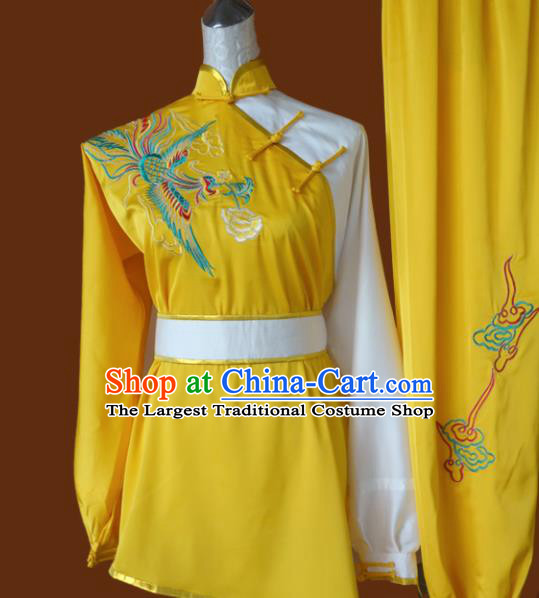 Chinese Traditional Martial Arts Embroidered Phoenix Yellow Uniform Kung Fu Group Competition Costume for Women