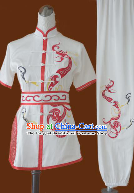 Chinese Traditional Tai Chi Uniform Kung Fu Group Competition Embroidered Dragon Costume for Women