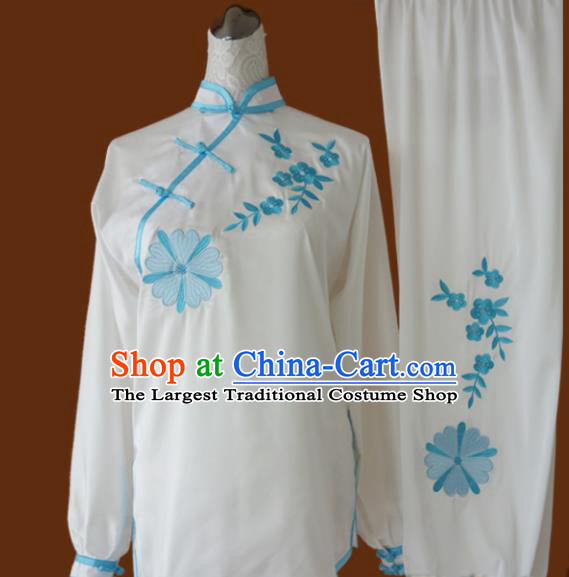 Top Grade Kung Fu Embroidered Lotus Costume Chinese Tai Chi Martial Arts Training Uniform for Adults